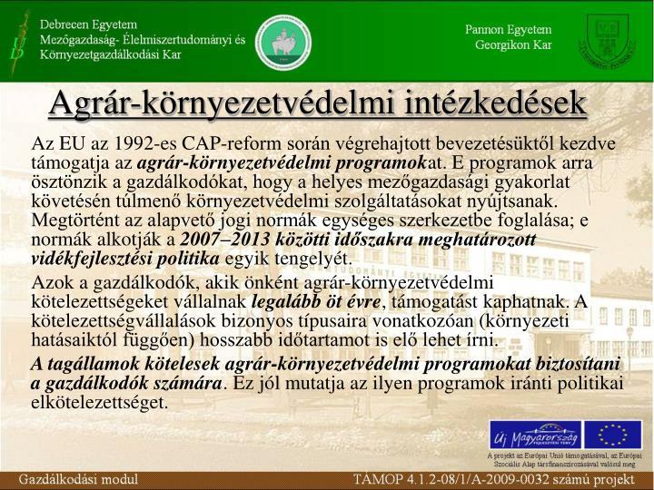 Agrár-környezetvédelmi intézkedések