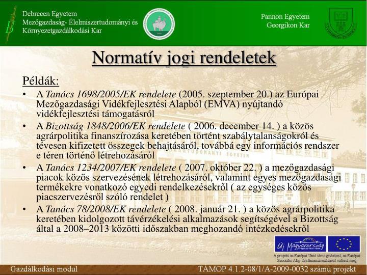 Normatív jogi rendeletek