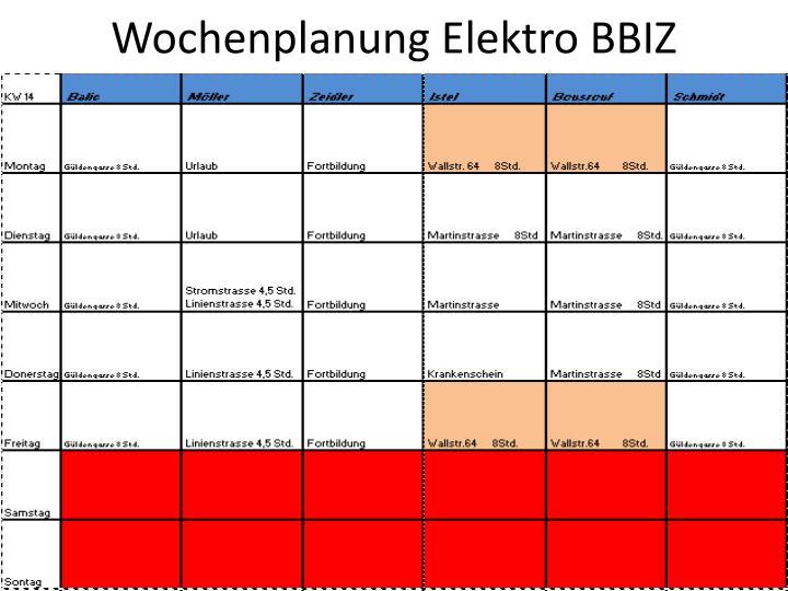 Wochenplanung Elektro BBIZ