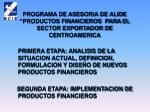 programa de asesoria de alide productos financieros para el sector exportador de centroamerica