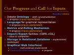 our progress and call for inputs
