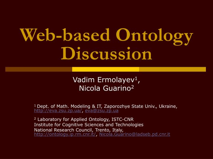 web based ontology discussion n.