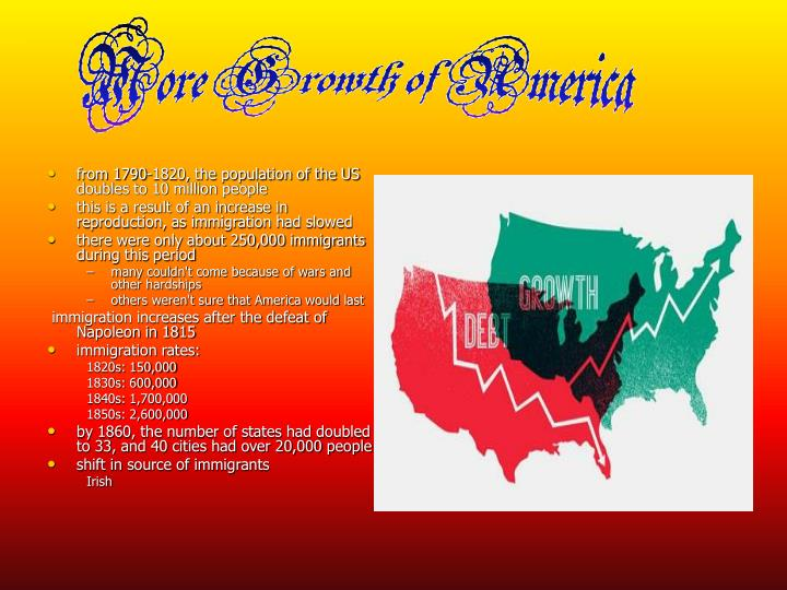 from 1790-1820, the population of the US doubles to 10 million people