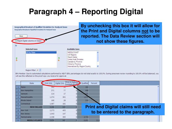 Paragraph 4 – Reporting Digital