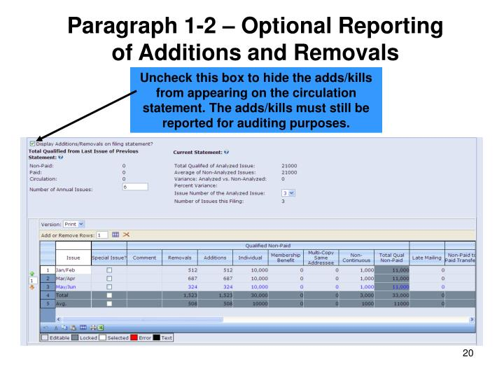 Paragraph 1-2 – Optional Reporting of Additions and Removals