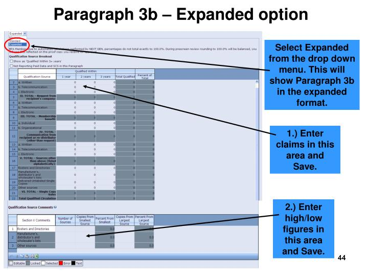 Paragraph 3b – Expanded option
