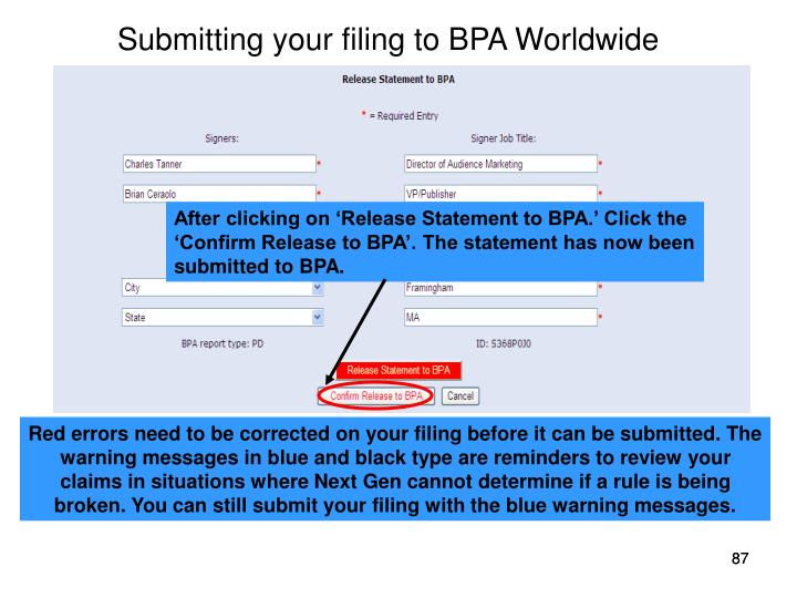 Submitting your filing to BPA Worldwide