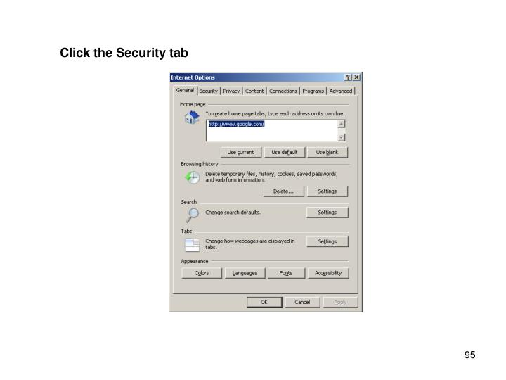 Click the Security tab