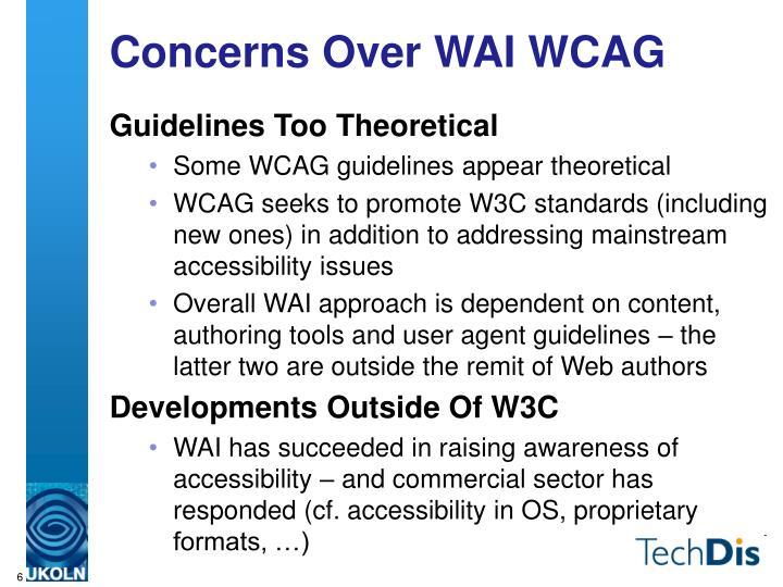 Concerns Over WAI WCAG