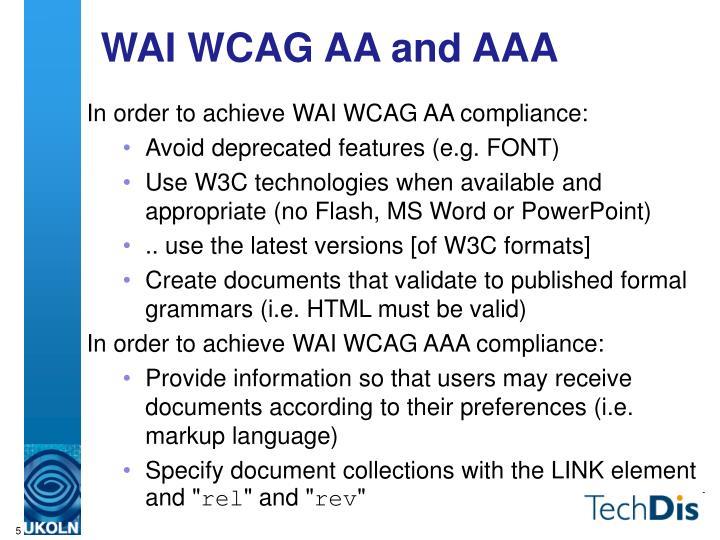 WAI WCAG AA and AAA