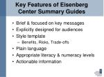 key features of eisenberg center summary guides