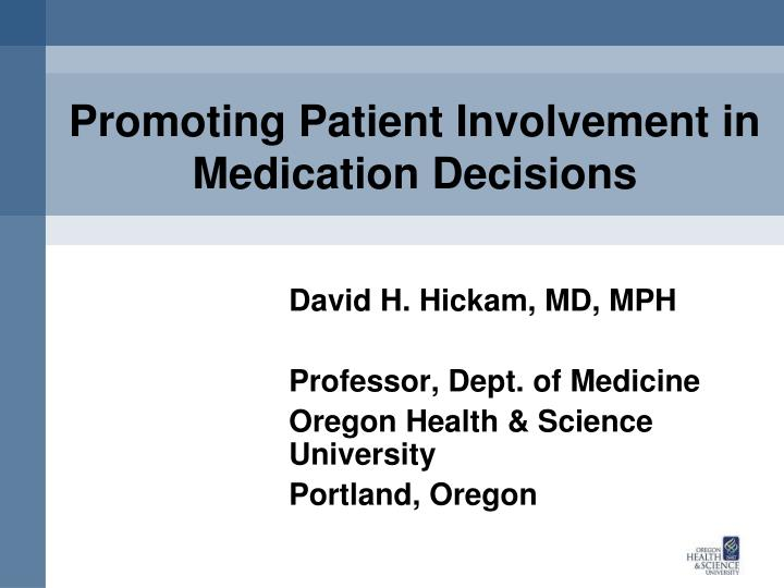 promoting patient involvement in medication decisions