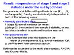 result independence of stage 1 and stage 2 statistics under the null hypothesis