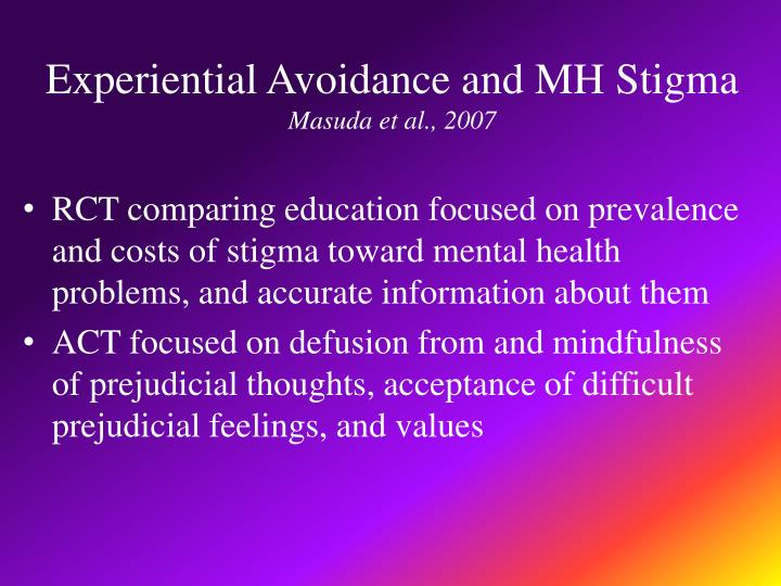 Experiential Avoidance and MH Stigma