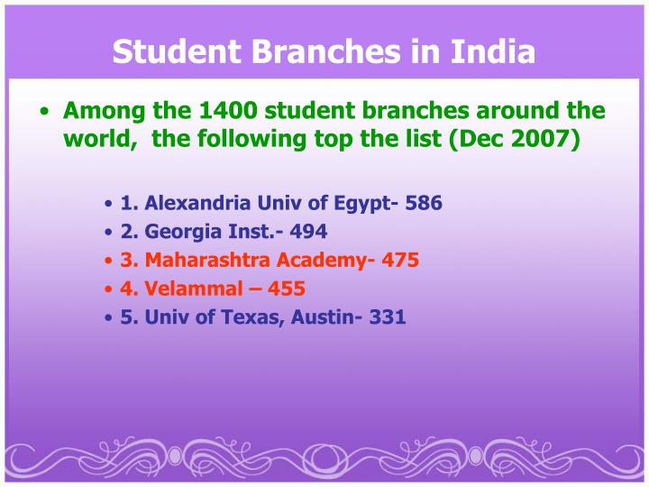 Student Branches in India