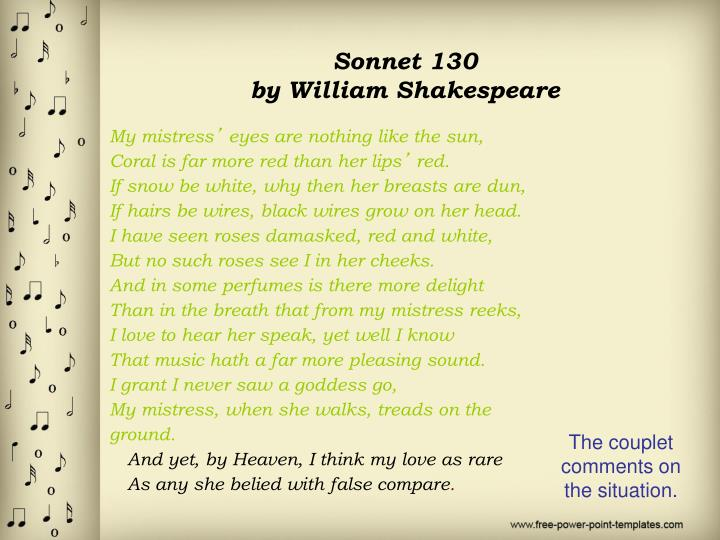 shakespeare s sonnet 130 and unconventional love Shakespeare's sonnets 116 and 130 themes of 116 love in its purest form , without being based on appearances or changing through time-though rosy lips and cheeks/ within his bending sickle's compass come shakespeare 9,10.