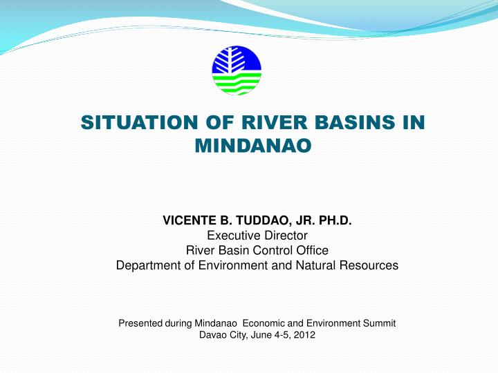situation of river basins in mindanao n.
