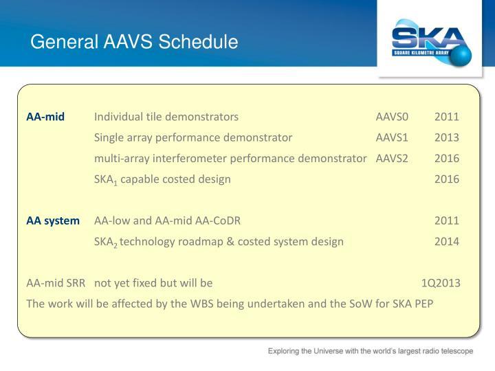 General aavs schedule