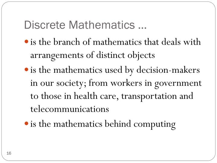 Discrete Mathematics …
