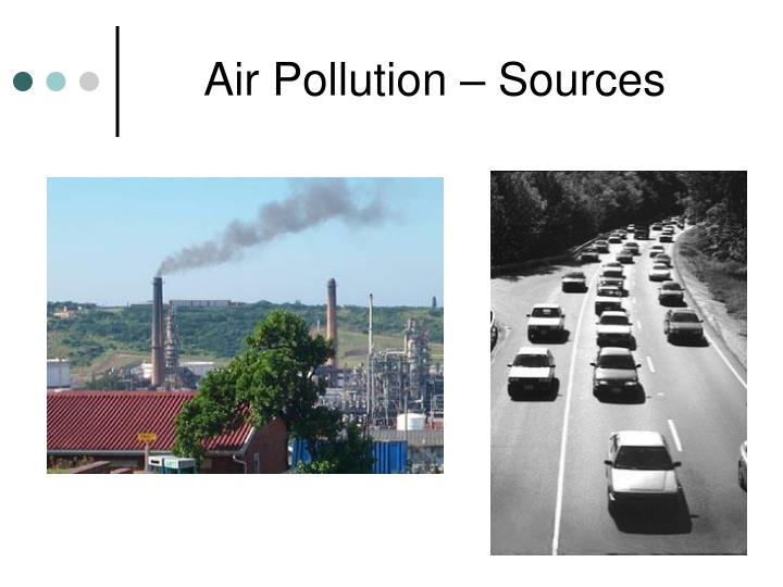 air pollution of speaking Natural air pollutants include (a) pollen, spores, (b) marsh gas, (c) volcanic gases and (a) synthesis of harmful chemicals by electric storms and solar flares the major cause of pollution in the urban areas is automobiles which inefficiently burn petroleum, releases 75% of noise and 80% of air pollutants.