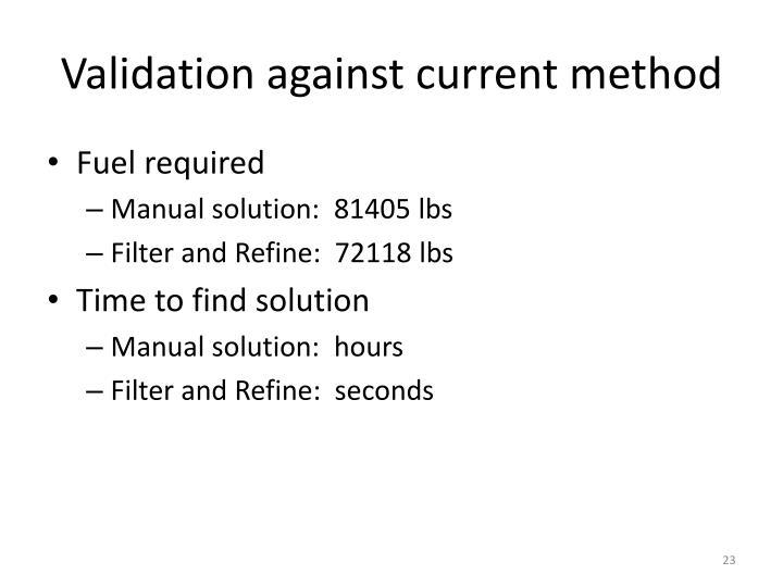 Validation against current method