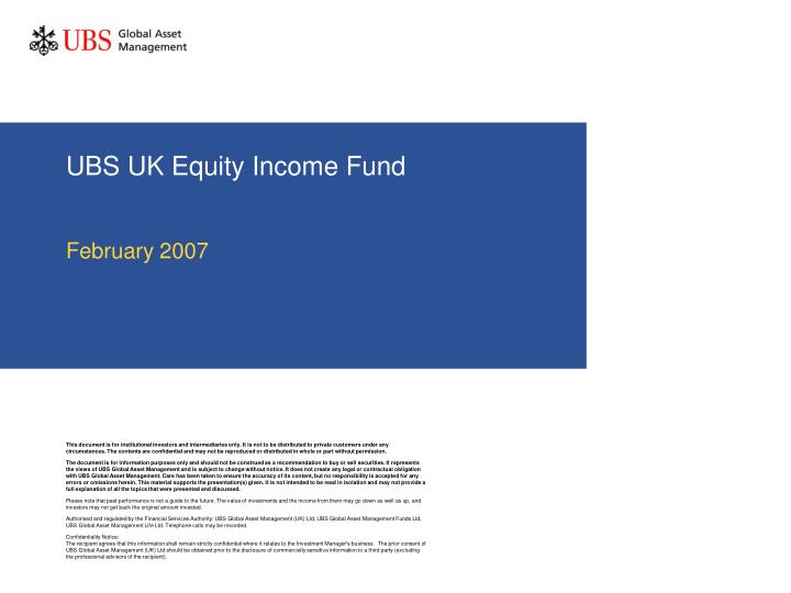 ubs uk equity income fund n.