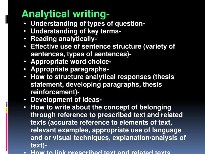 Analytical writing-