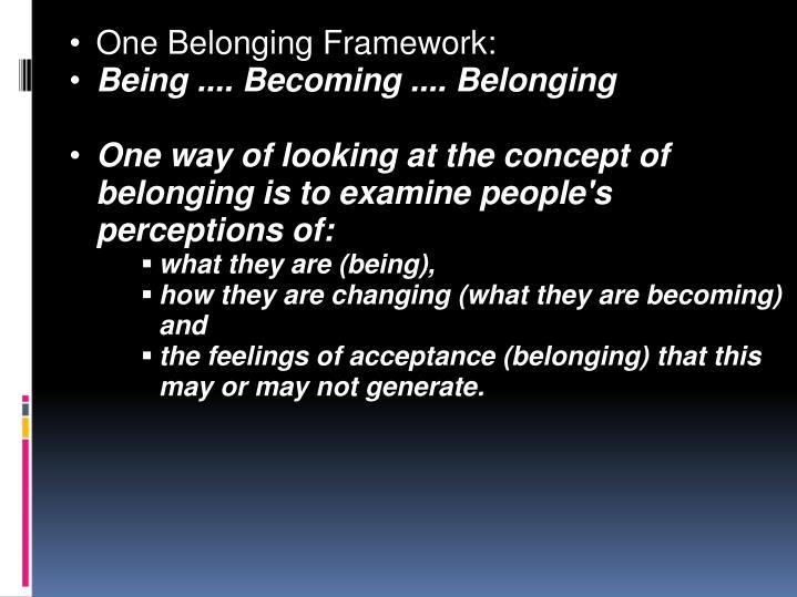 One Belonging Framework: