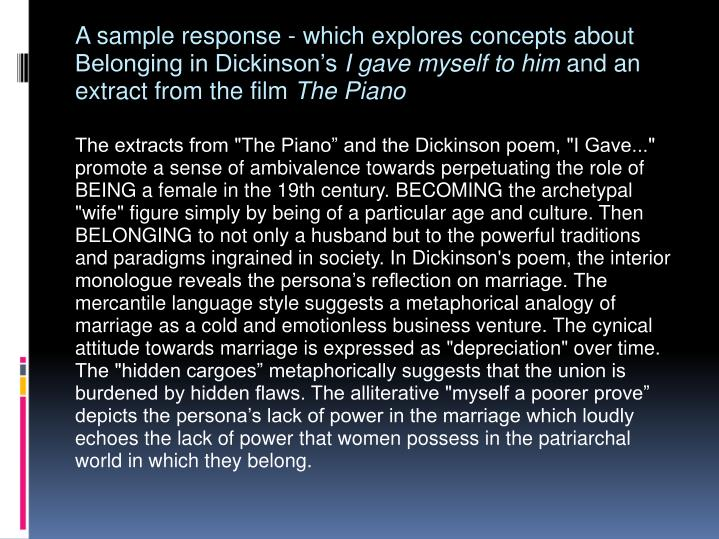 A sample response - which explores concepts about Belonging in Dickinson's
