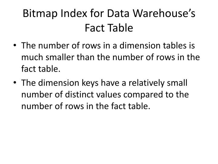 Bitmap Index for Data Warehouse's Fact Table