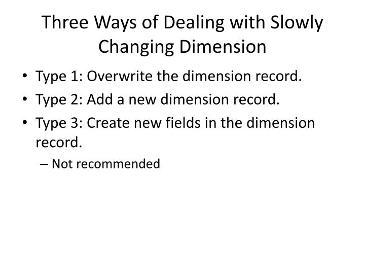 Three Ways of Dealing with Slowly Changing Dimension