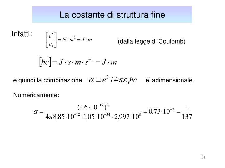 La costante di struttura fine