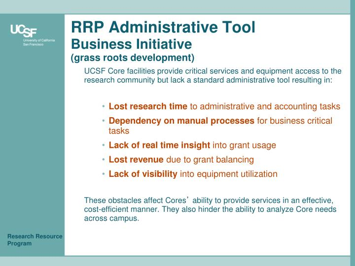 RRP Administrative Tool