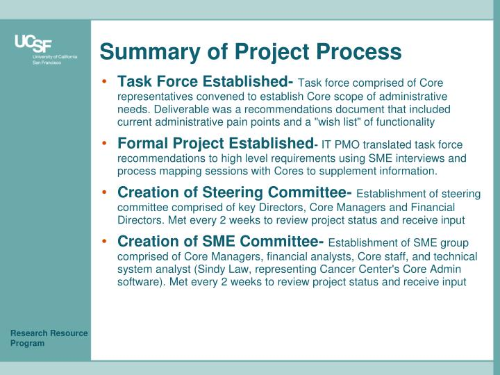 Summary of Project Process
