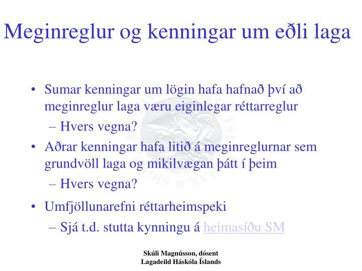 Meginreglur og kenningar um eðli laga