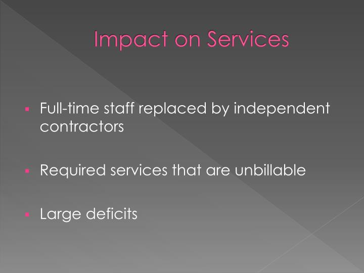 Impact on Services