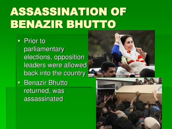 ASSASSINATION OF BENAZIR BHUTTO