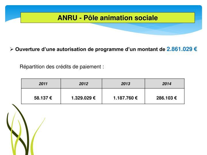 ANRU - Pôle animation sociale