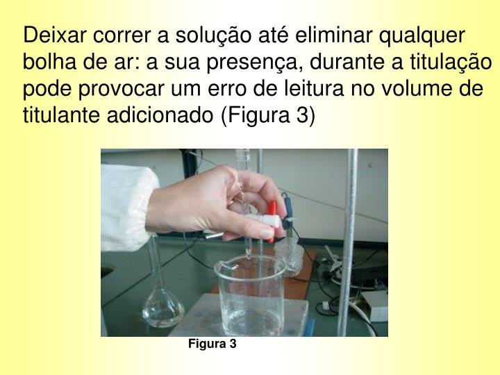 Deixar correr a solução até eliminar qualquer bolha de ar: a sua presença, durante a titulação pode provocar um erro de leitura no volume de titulante adicionado (Figura 3)