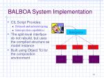 balboa system implementation