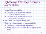 high design efficiency requires new abilities