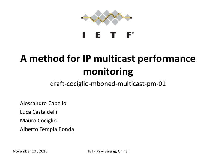 a method for ip multicast performance monitoring n.