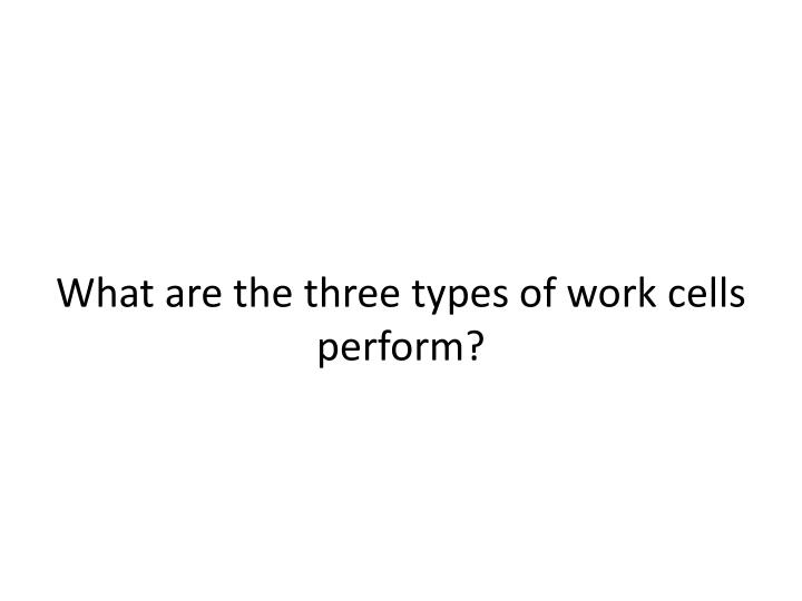 What are the three types of work cells perform?