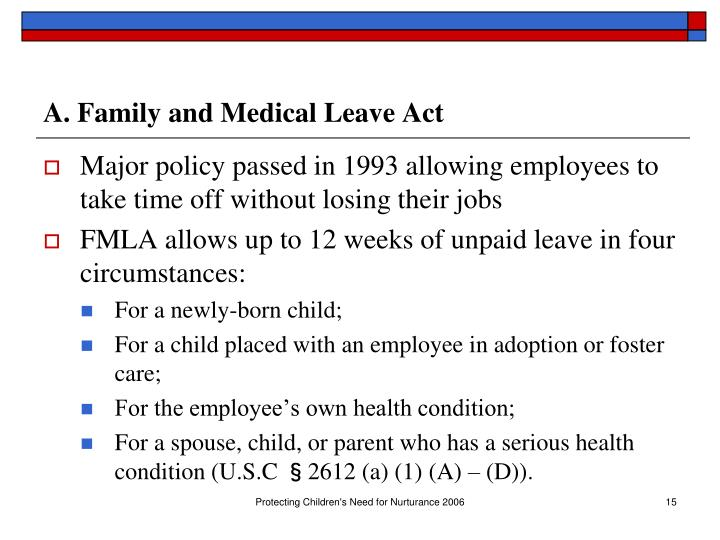 A. Family and Medical Leave Act