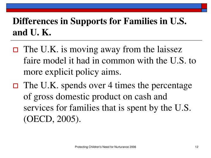 Differences in Supports for Families in U.S. and U. K.