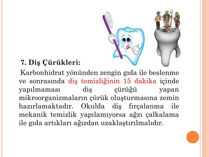 7. Diş Çürükleri: