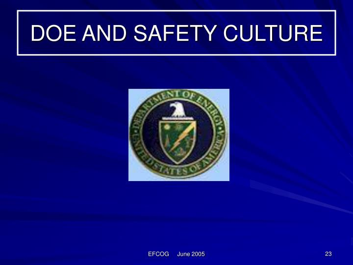 DOE AND SAFETY CULTURE