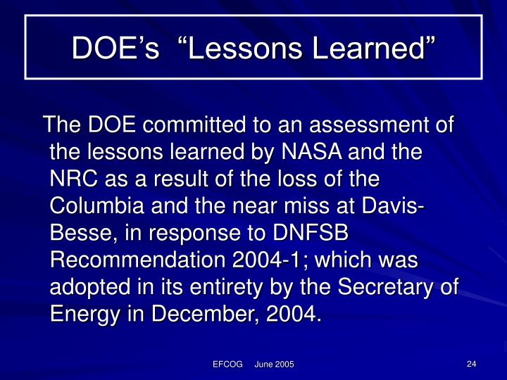 "DOE's  ""Lessons Learned"""
