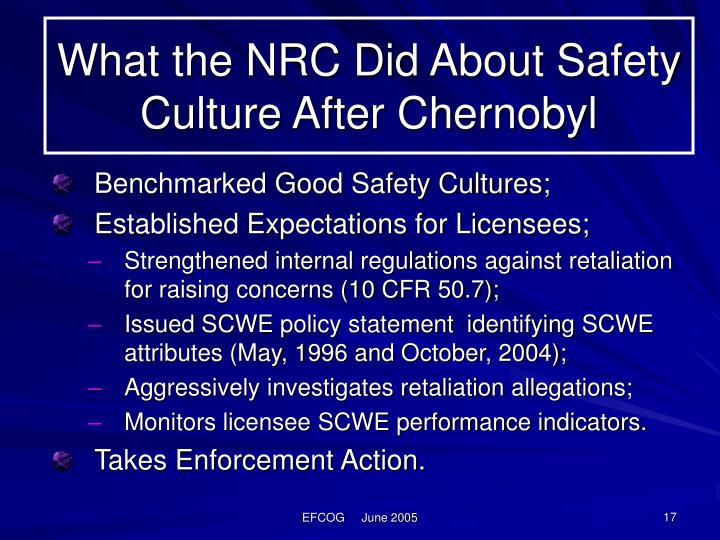 What the NRC Did About Safety Culture After Chernobyl