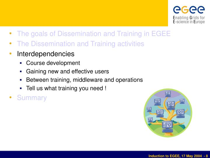 The goals of Dissemination and Training in EGEE